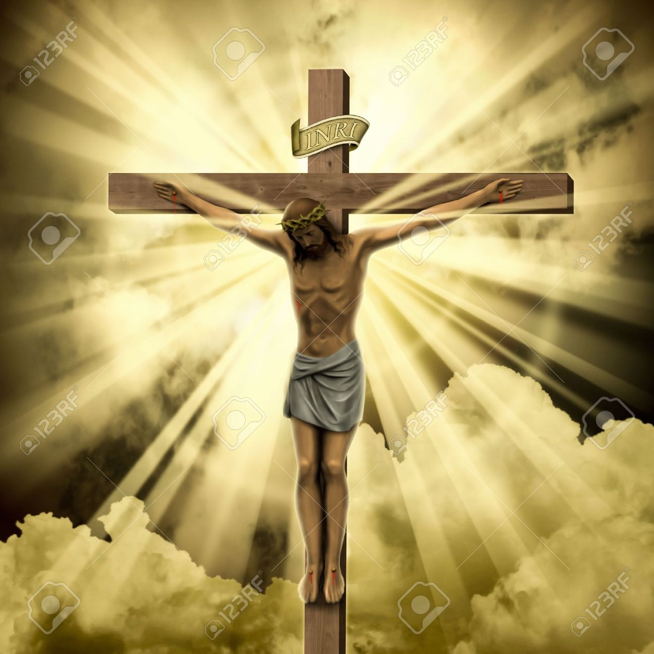 Jesus Christ On The Cross With Clouds Stock Photo Picture And Royalty Free Image Image 7124703
