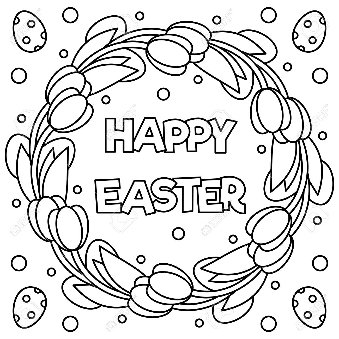 Happy Easter Coloring Page Black And White Vector Illustration Royalty Free Cliparts Vectors And Stock Illustration Image 96068032