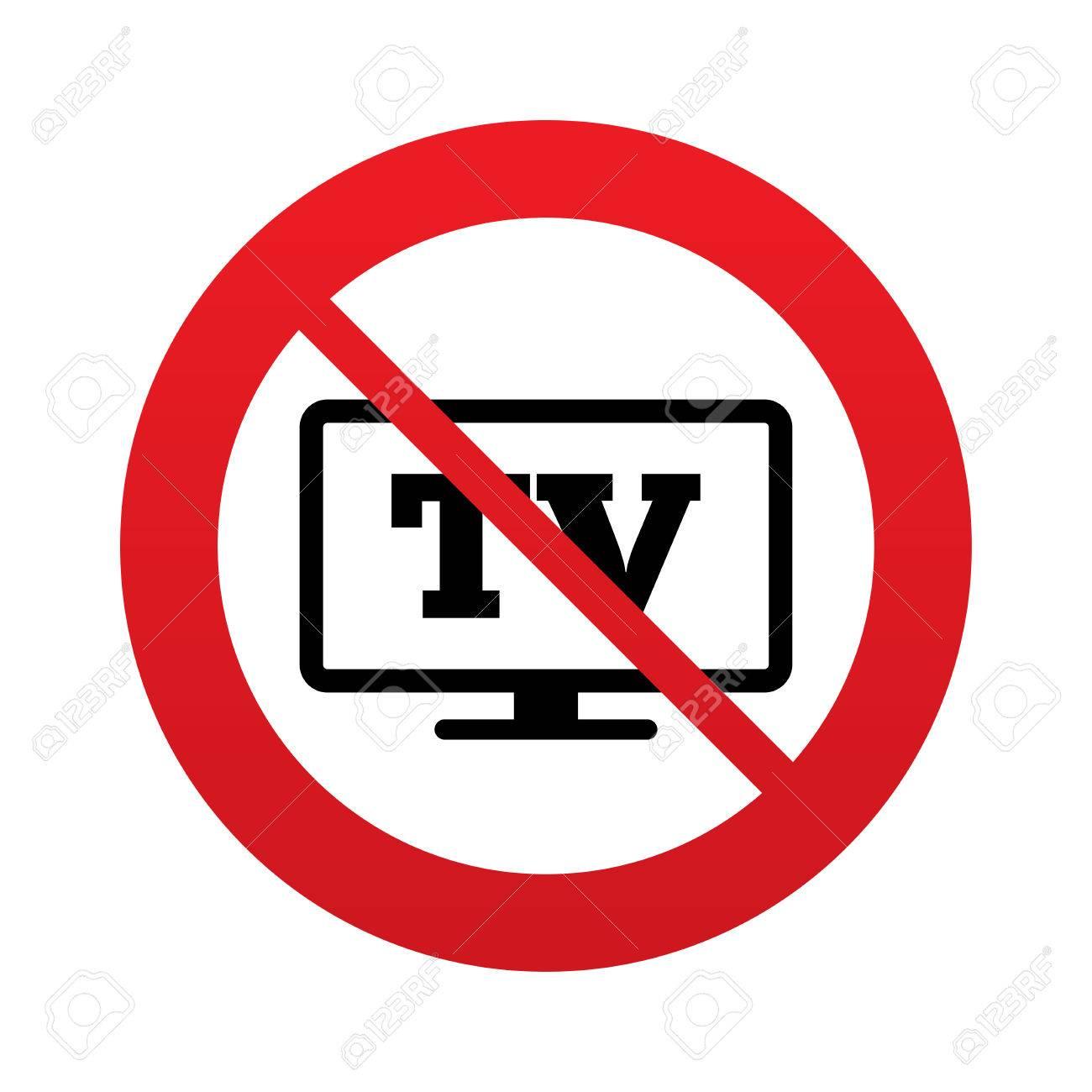 pas widescreen signe de l icone tv televiseur symbole panneau d interdiction rouge arretez symbole vecteur