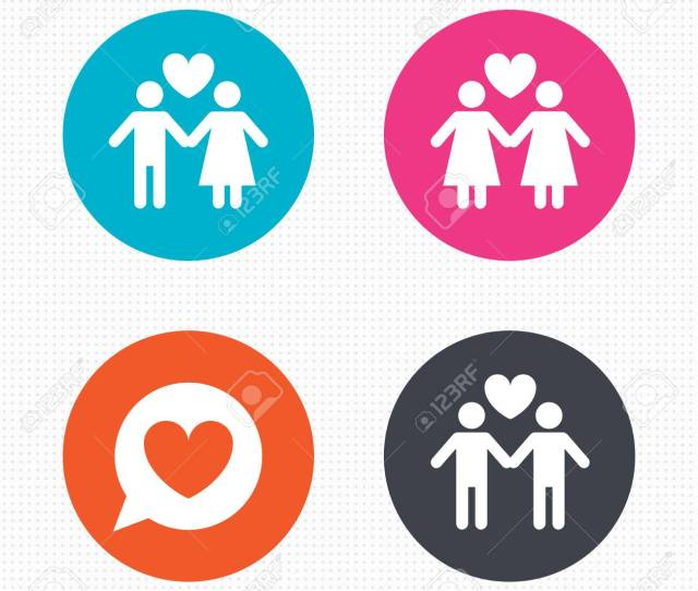 Circle Buttons Couple Love Icon Lesbian And Gay Lovers Signs Romantic Homosexual Relationships