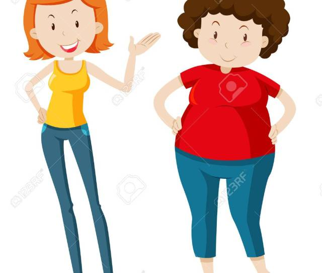 Slim Woman And Chubby Woman Illustration Stock Vector 48902150