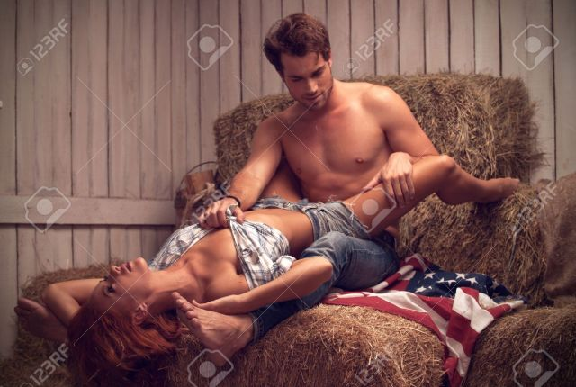 Sexy Couple Having Sex In Hayloft Sexy Man With Nude Torso Stock Photo 22985010