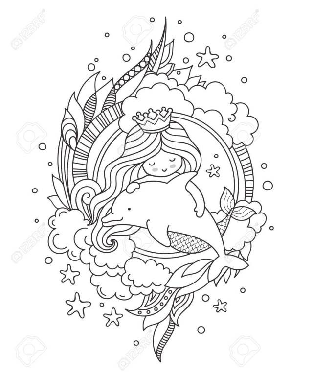 Little Queen Mermaid With Dolphin. Page For Coloring Book