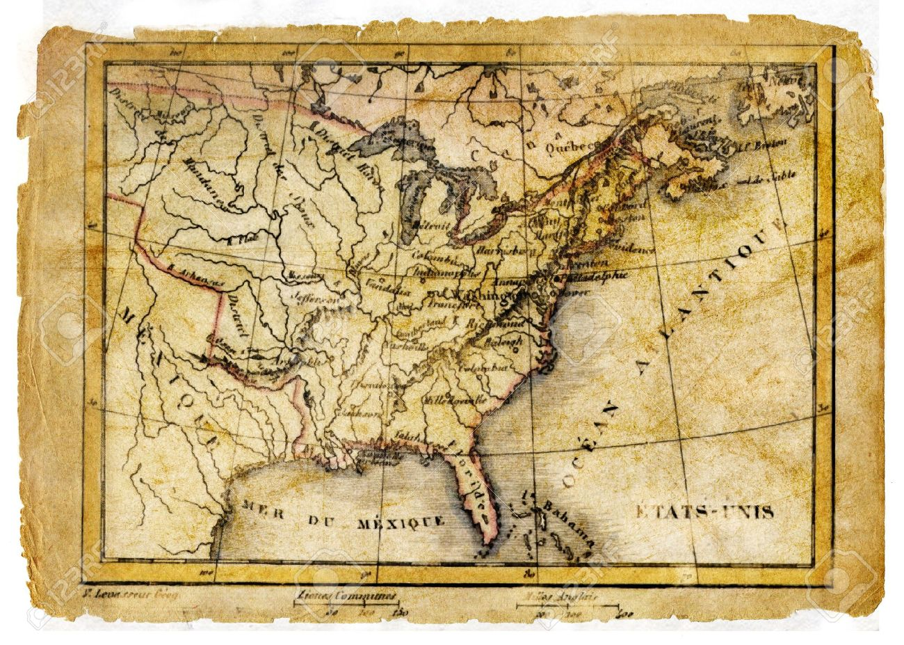 Ancient Map Of USA Stock Photo  Picture And Royalty Free Image     ancient map of USA