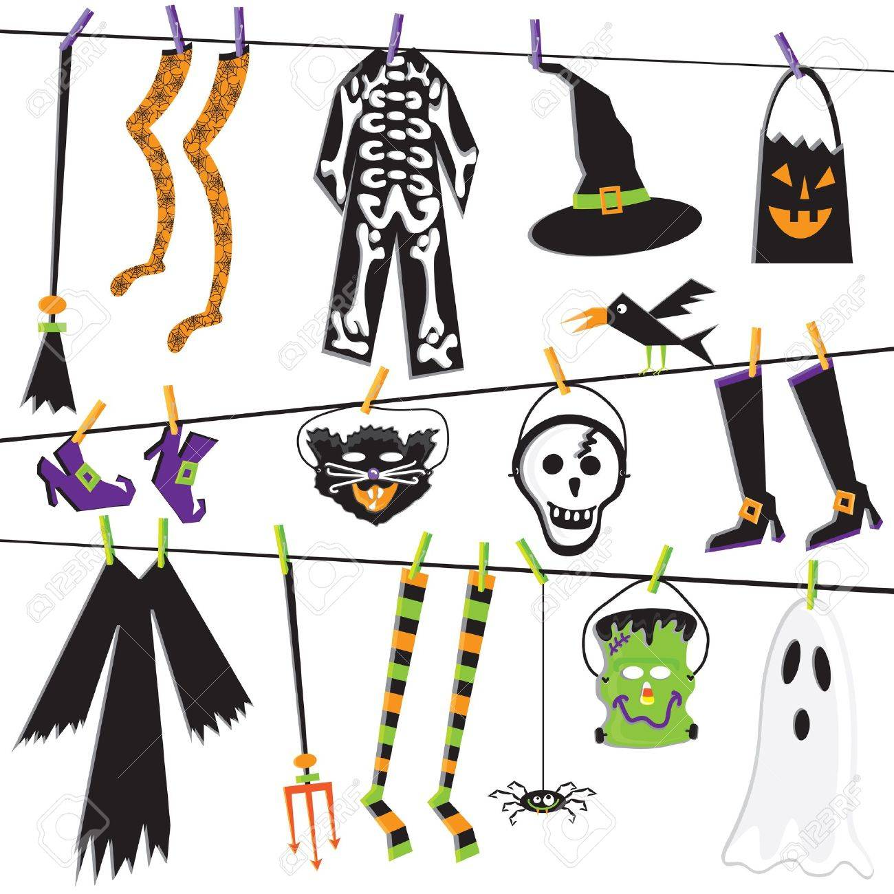 Halloween Costume Clothesline Clip Art Royalty Free Cliparts Vectors And Stock Illustration Image 10684822