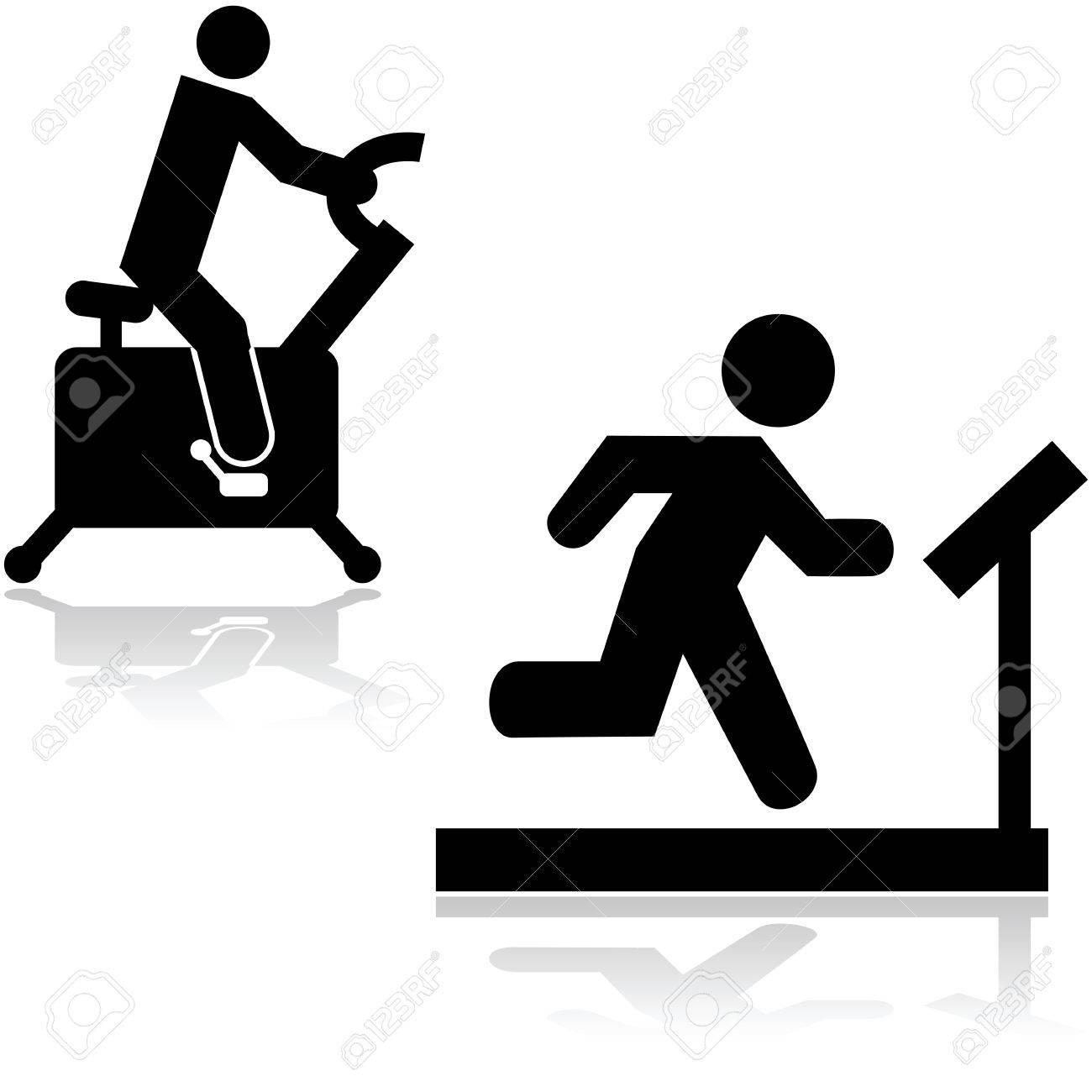 icones montrant une personne sur un tapis roulant et velo stationnaire