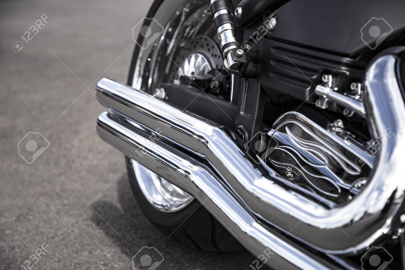 motorcycle exhaust pipe chrome shiny clean motorbike tail pipe