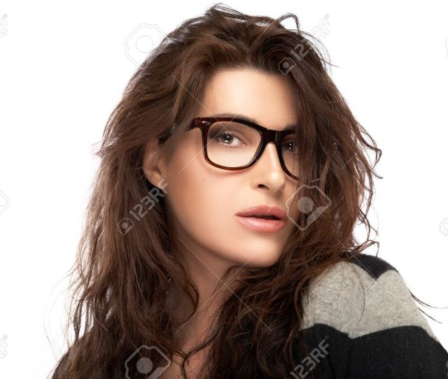 Gorgeous Brunette Fashion Model Girl With Casual Style Wearing Trendy Glasses Cool Trendy Eyewear Portrait
