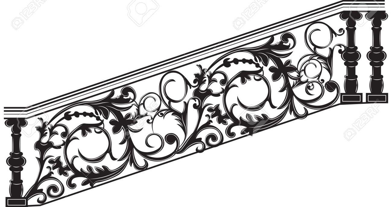 Stair Railing Vector Wrought Iron Stairs Railing Royalty Free | Black Wrought Iron Stair Railing | Oak And Iron | Straight Line | Rectangular Iron | Walnut Iron | Steel Railing