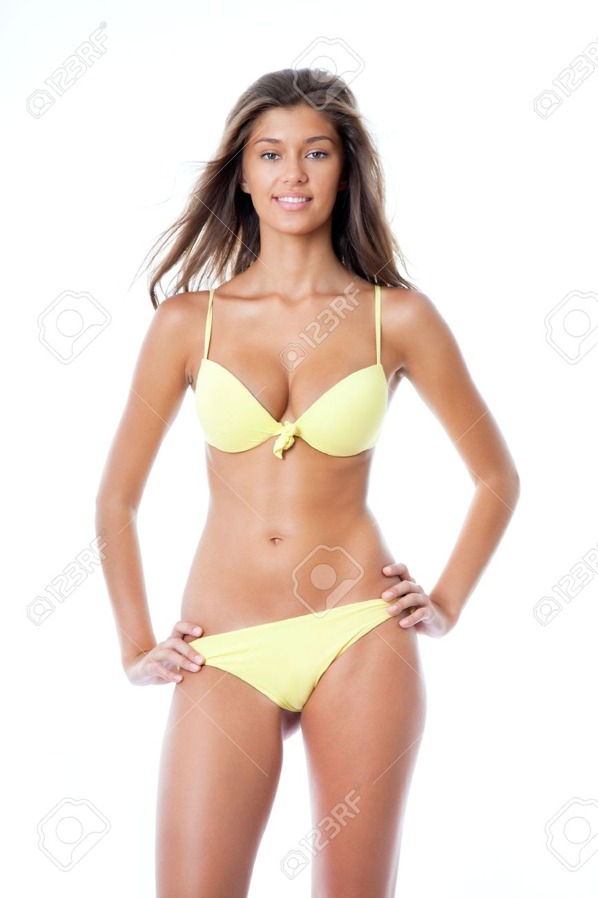 Sexy Young Woman In Yellow Bikini Stock Photo 19194104