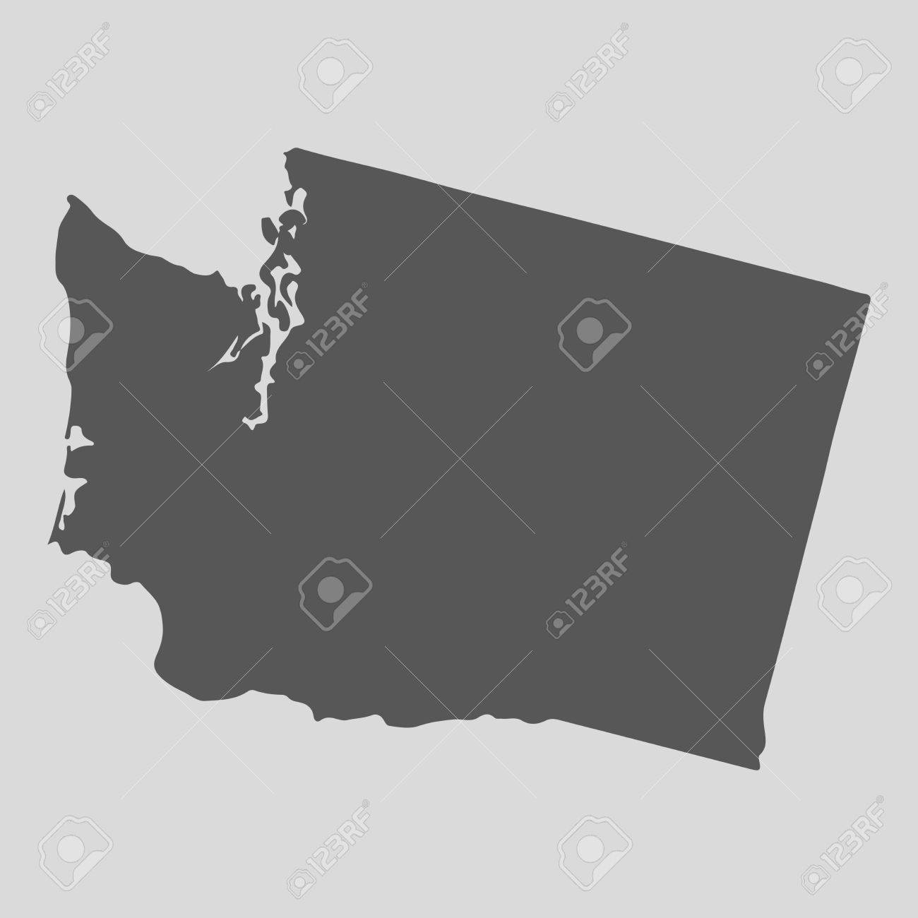 Black Map Of The State Of Washington   Vector Illustration  Simple     Black map of the State of Washington   vector illustration  Simple flat map  State of