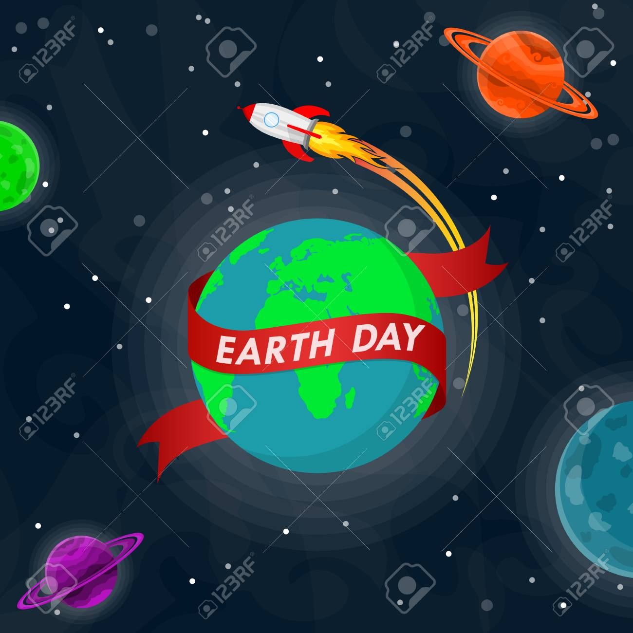 world earth day poster with earth globe and rocket in outer space