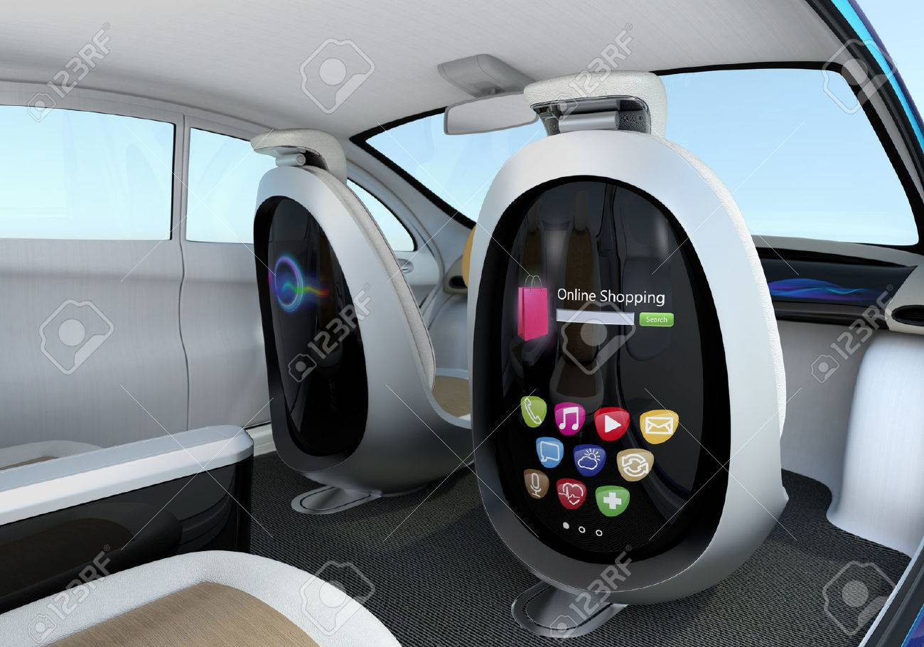 Autonomous Car Interior Concept  Front Seats Equipped With Monitors     Autonomous car interior concept  Front seats equipped with monitors help  Passengers enjoying internet while they
