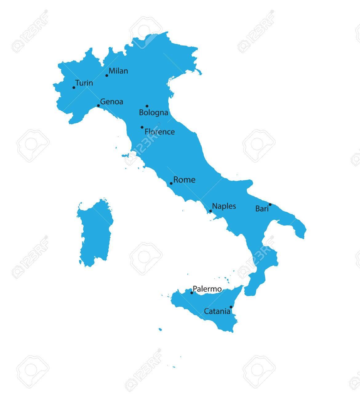 Blu Mappa Ditalia Con Indiaction Delle Più Grandi Città