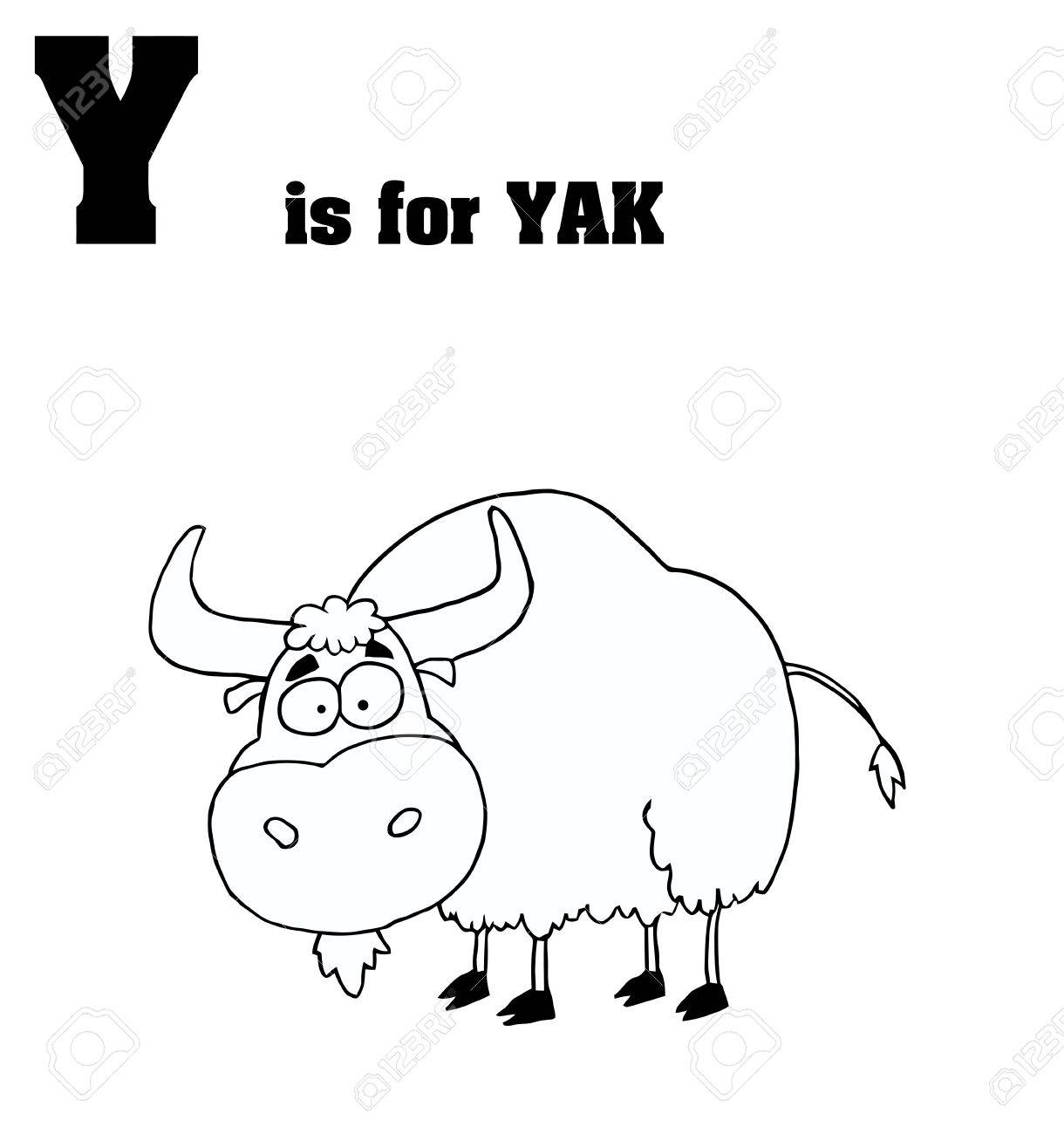 Outlined Yak With Y Is For Yak Text Royalty Free Cliparts Vectors