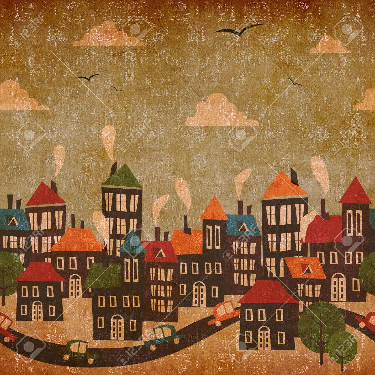 abstract winter city vintage colorful background stock photo