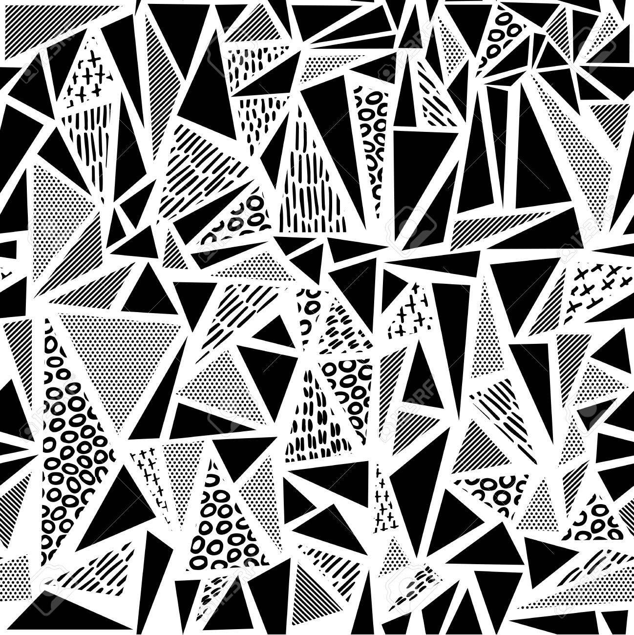 vintage seamless pattern dans un style noir et blanc avec un design en forme de triangle geometrique mode retro des annees 80 memphis ideal pour le web fond impression ou tissu vecteur