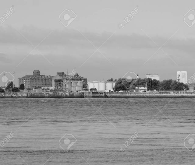 Stock Photo View Of Birkenhead Skyline Across The Mersey River In Liverpool Uk In Black And White