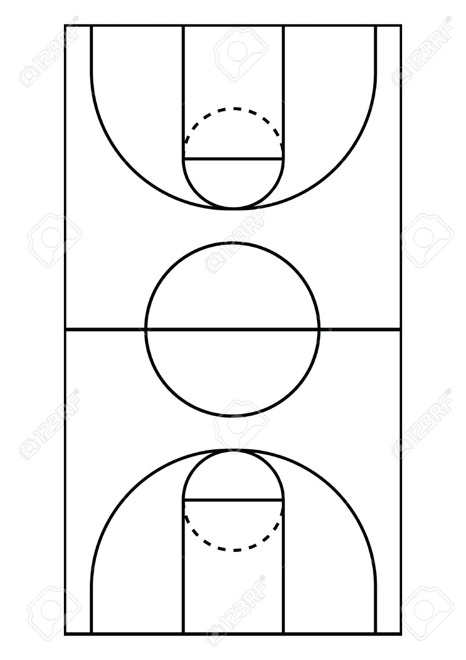 A4 Size Vertical Basketball Court Line Vector Royalty Free Cliparts Vectors And Stock Illustration Image 53041443