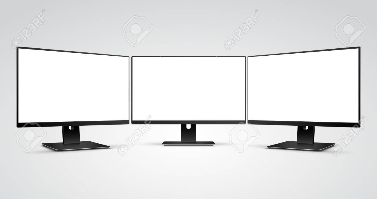 Three Computer Monitors Mockup With White Blank Screen Royalty Free