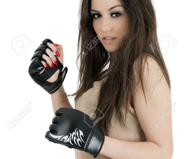 Stock Photo Young Sexy Girl Over White Background With Boxing Gloves