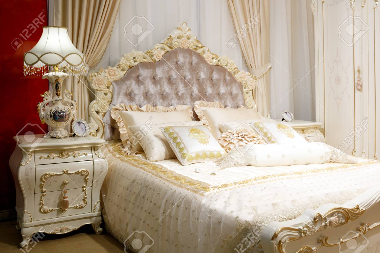 luxury modern classic style bedroom in white and pink tones stock photo picture and royalty free image image 104488827