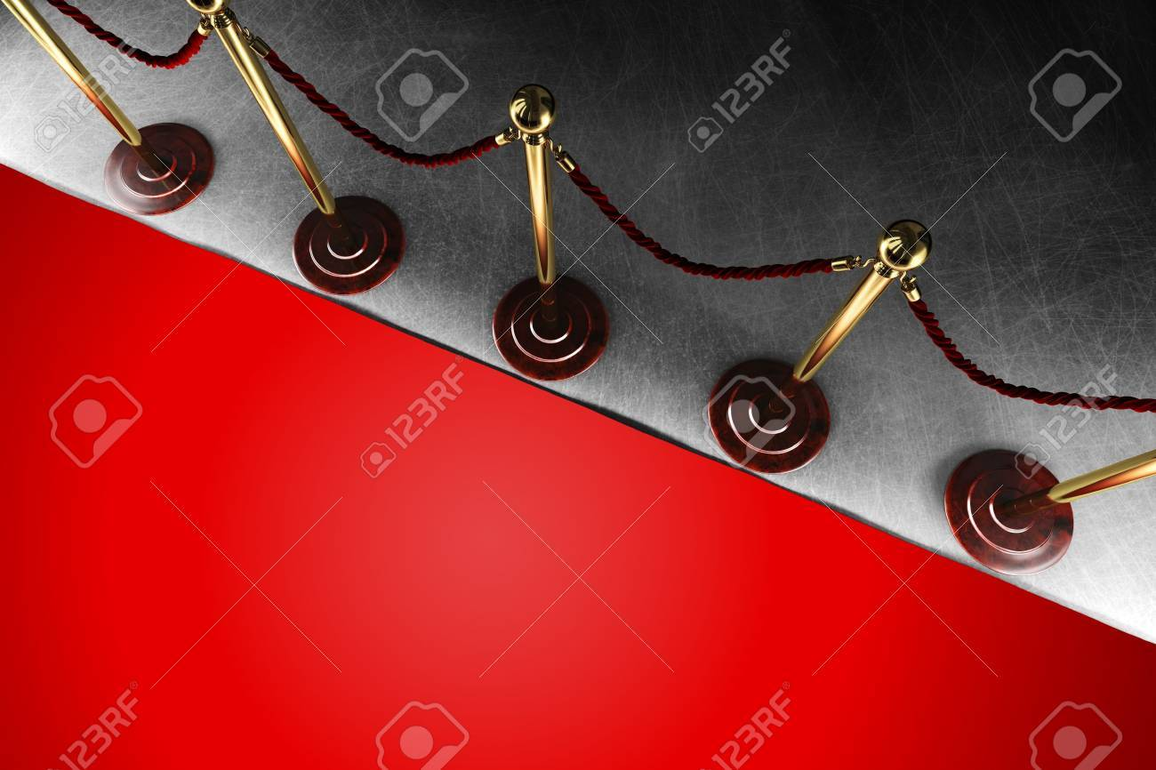 une barriere de corde de velours avec grand tapis rouge en vue de dessus