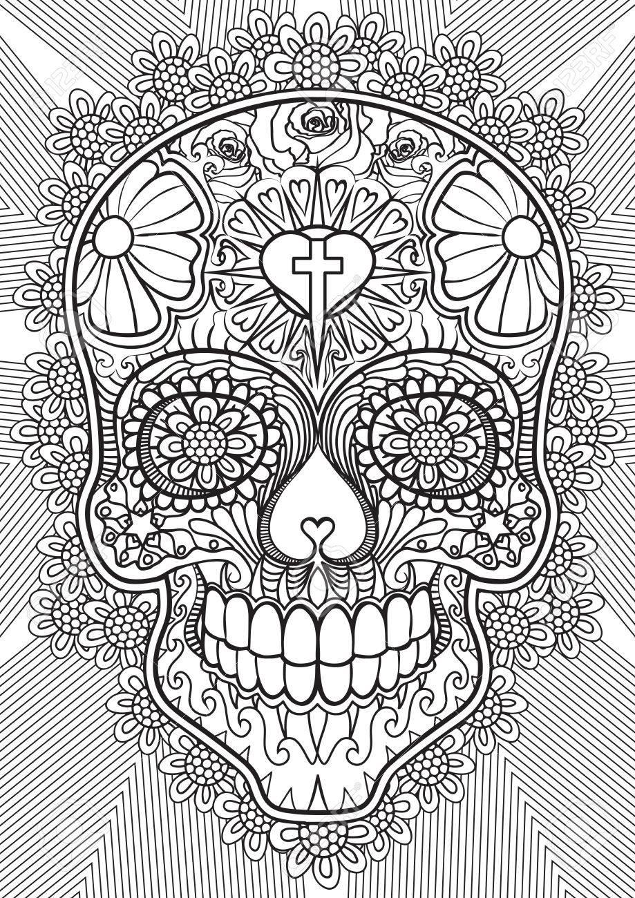 adult coloring book illustration. tattoo set: skull. illustration.