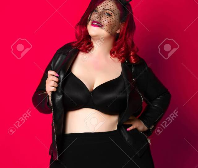 Hot And Sexy Fashion Portrait Of A Fat Girl Posing In A Leather