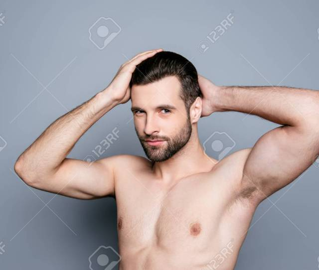 A Portrait Of A Young Handsome Naked Man Touching His Hair After Taking A Shower Stock