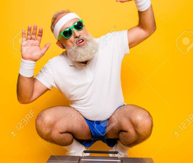 Cheerful Excited Aged Funny Sexy Gangster Cool Grandpa Dude In Eyewear With Bass Clipping Ghetto Blaster