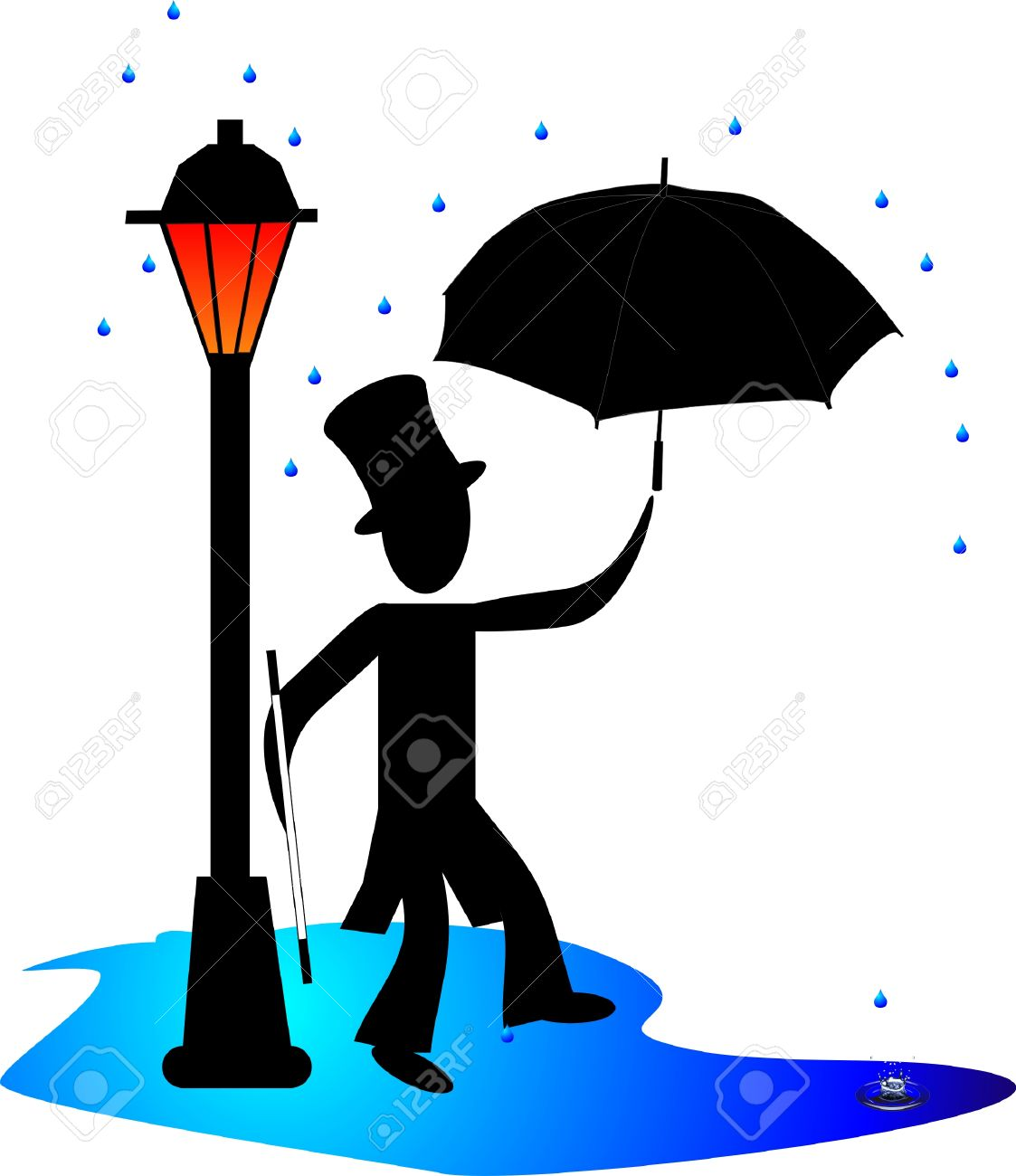 man danser sous la pluie par un gaz leger lampadaire avec parapluie