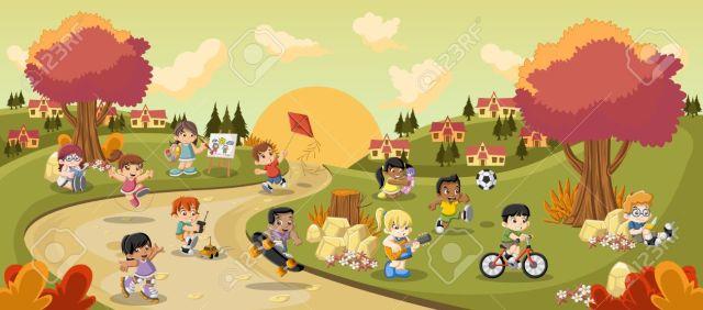 Parque Colorido En La Ciudad Con Los Niños De Dibujos Animados Jugando.  Deportes Y Juguetes. Ilustraciones Vectoriales, Clip Art Vectorizado Libre  De Derechos. Image 58198879.