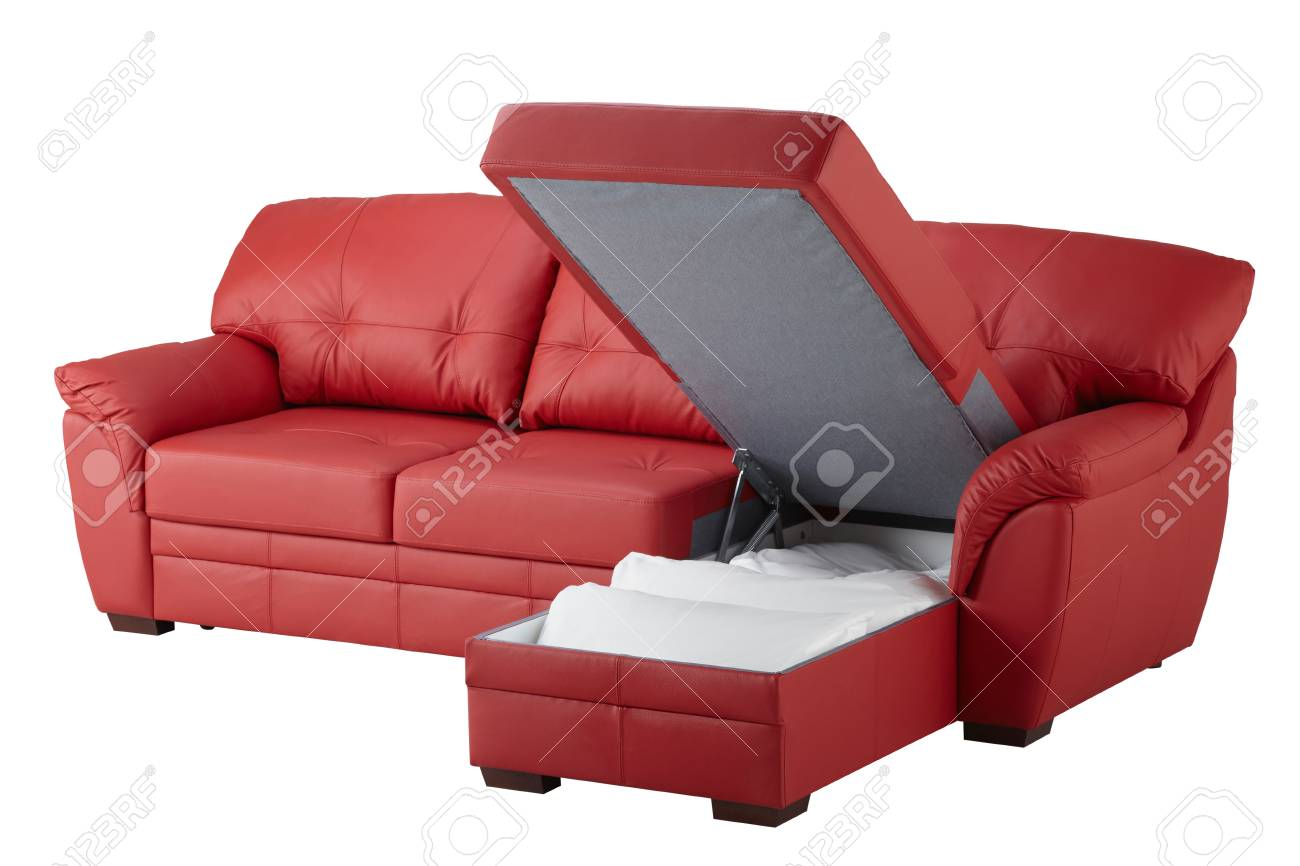 Red Leather Corner Sofa Bed With Storage Isolated On White Stock Photo Picture And Royalty Free Image Image 78631407