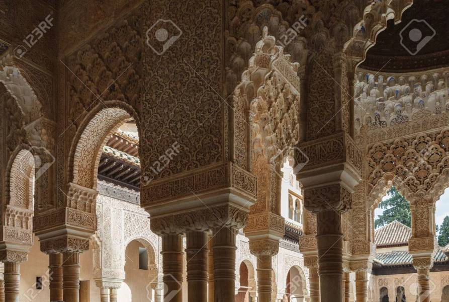 Interior Of Alhambra  Granada  Andalusia  Spain  Columns With     Interior of Alhambra  Granada  Andalusia  Spain  Columns with muqarnas  ceiling decoration and