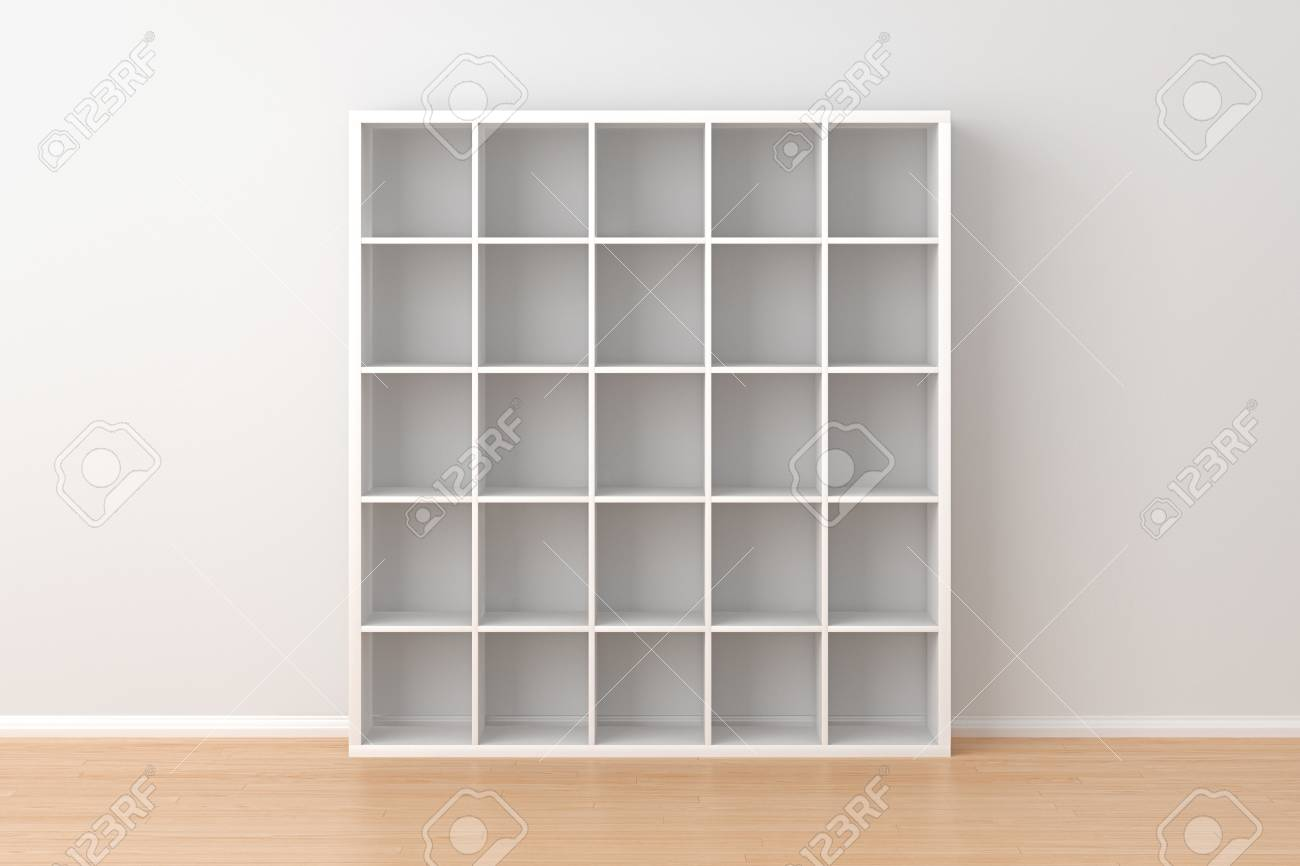 empty white book rack isolated in interior 3d render