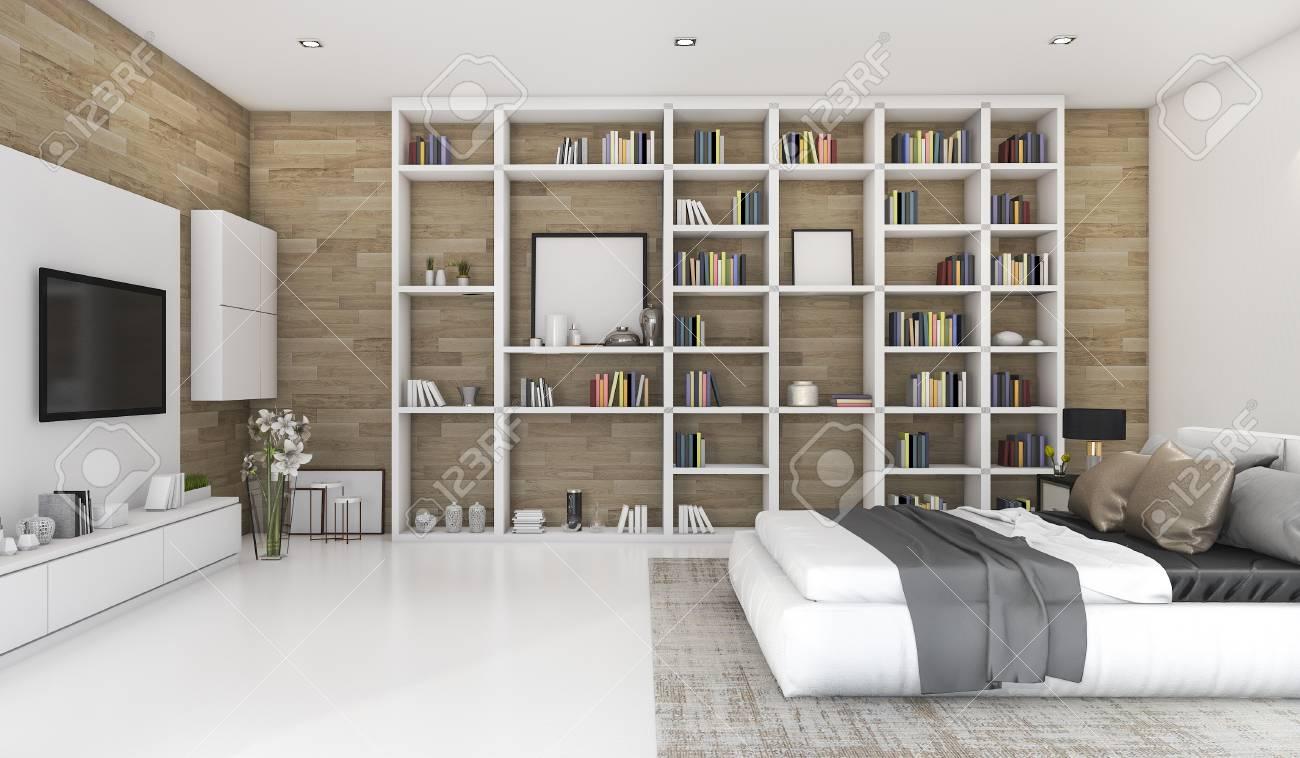 chambre a coucher contemporaine en bois de rendu 3d avec construit dans la bibliotheque