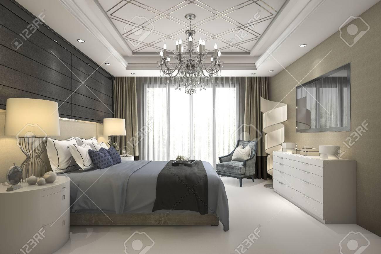 ensemble de chambre a coucher moderne de luxe en hotel 3d