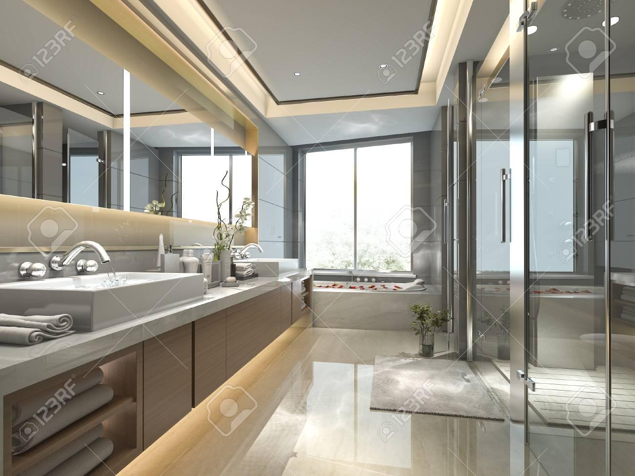 salle de bains classique moderne offrant un decor de carrelage de luxe