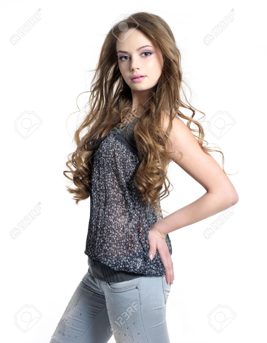 Portrait Of Young Beautiful Sexy Teenager Girl In Casuals White Background Stock Photo 9332458