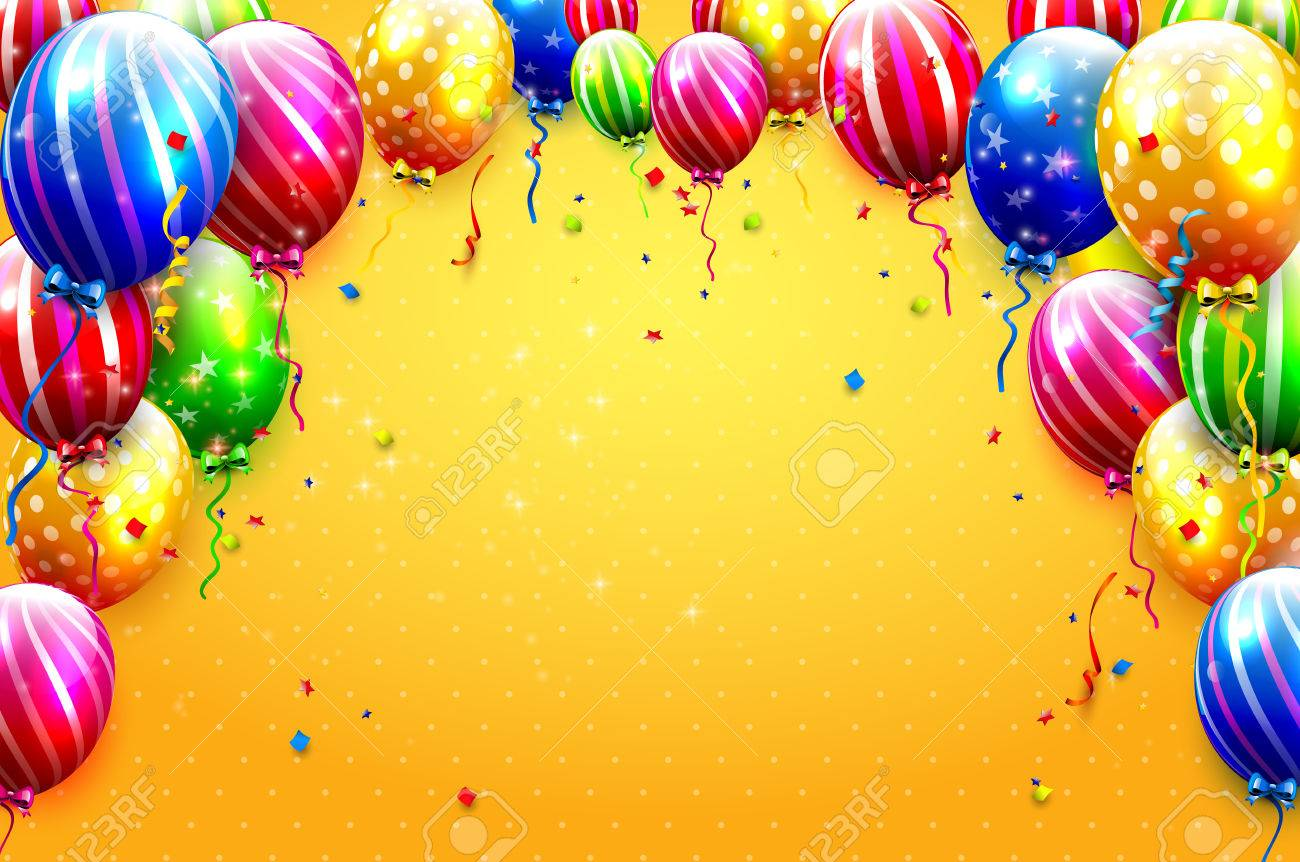 luxury party balloons and confetti on orange background party