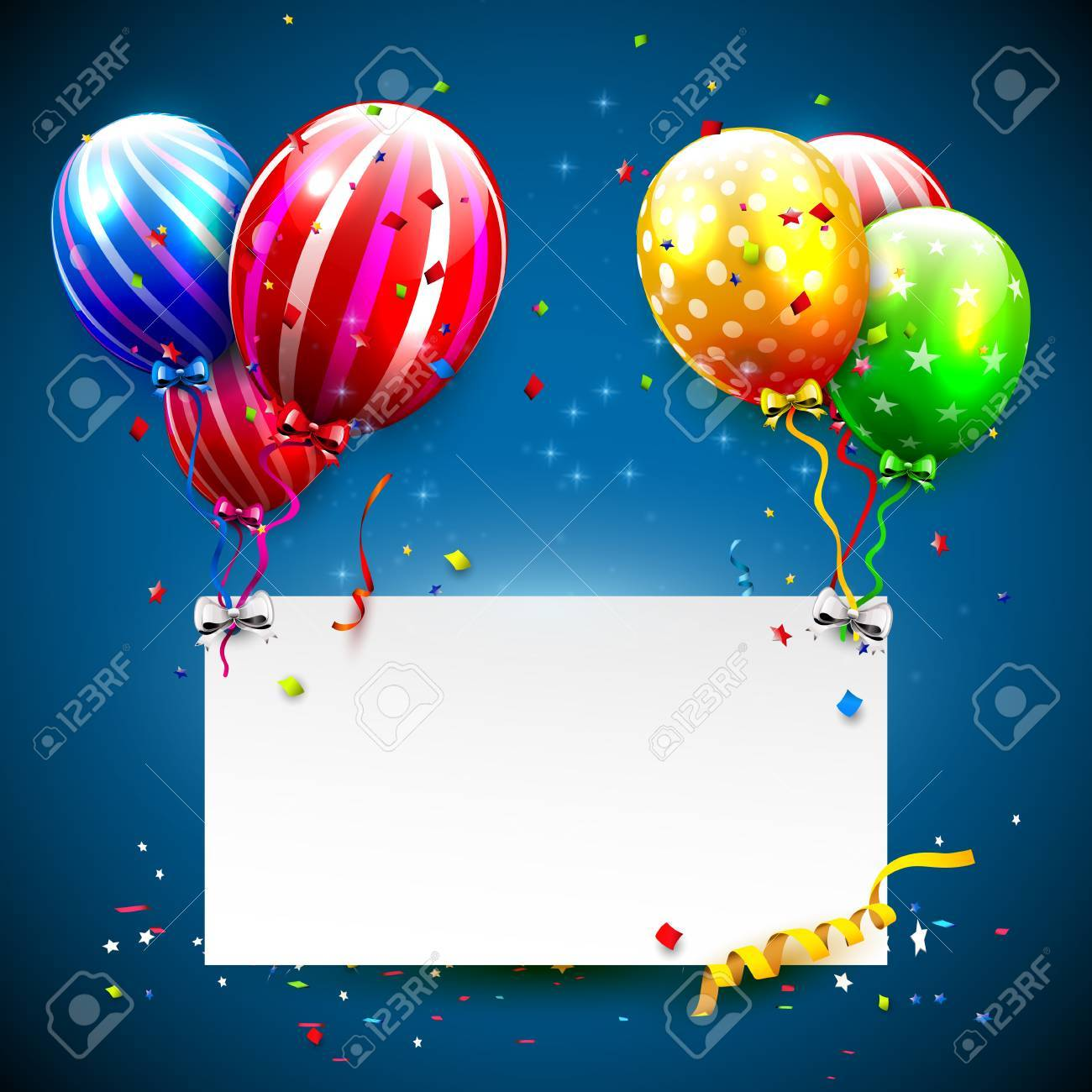 luxury party balloons and confetti on blue background party