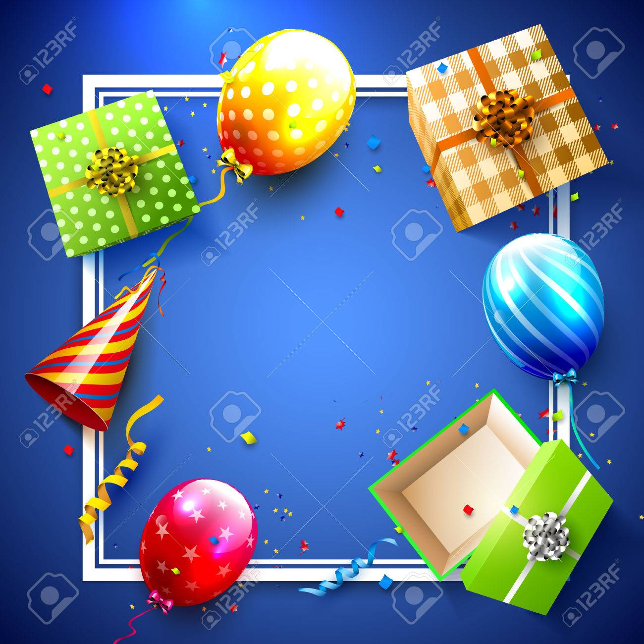 luxury party balloons confetti and gift boxes on blue background