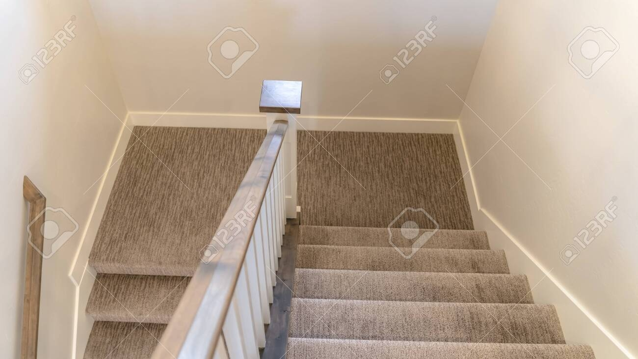 Photo Panorama U Shaped Staircase With Handrails And Gray Carpet   U Shaped Staircase Design   Round Shape   Traditional   House   Tiny   L Shaped