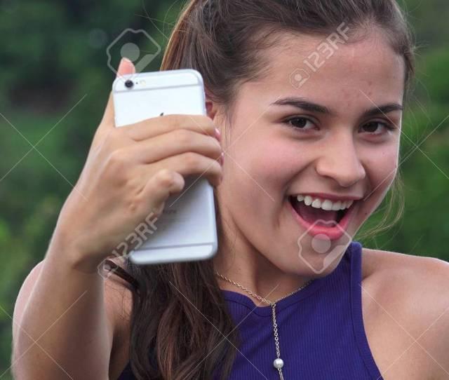 Fun Teen Girl Taking Selfies Stock Photo 73563940