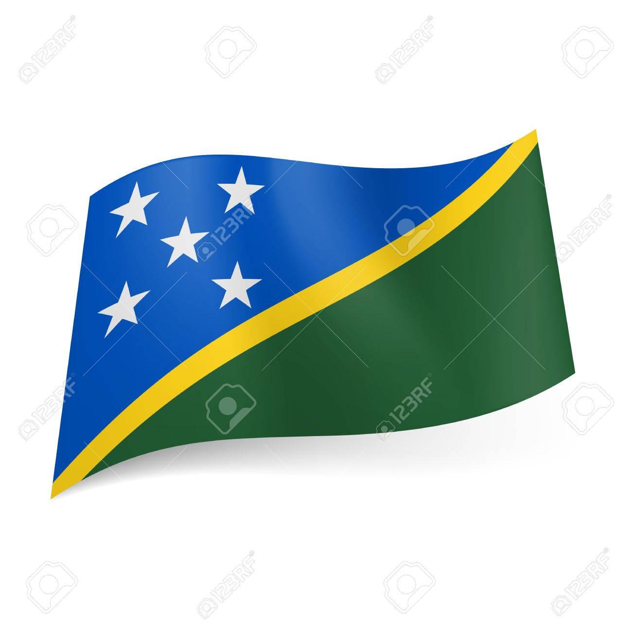 drapeau national des iles salomon champs bleus et verts separes en diagonale avec la ligne jaune cinq etoiles blanches sur fond bleu