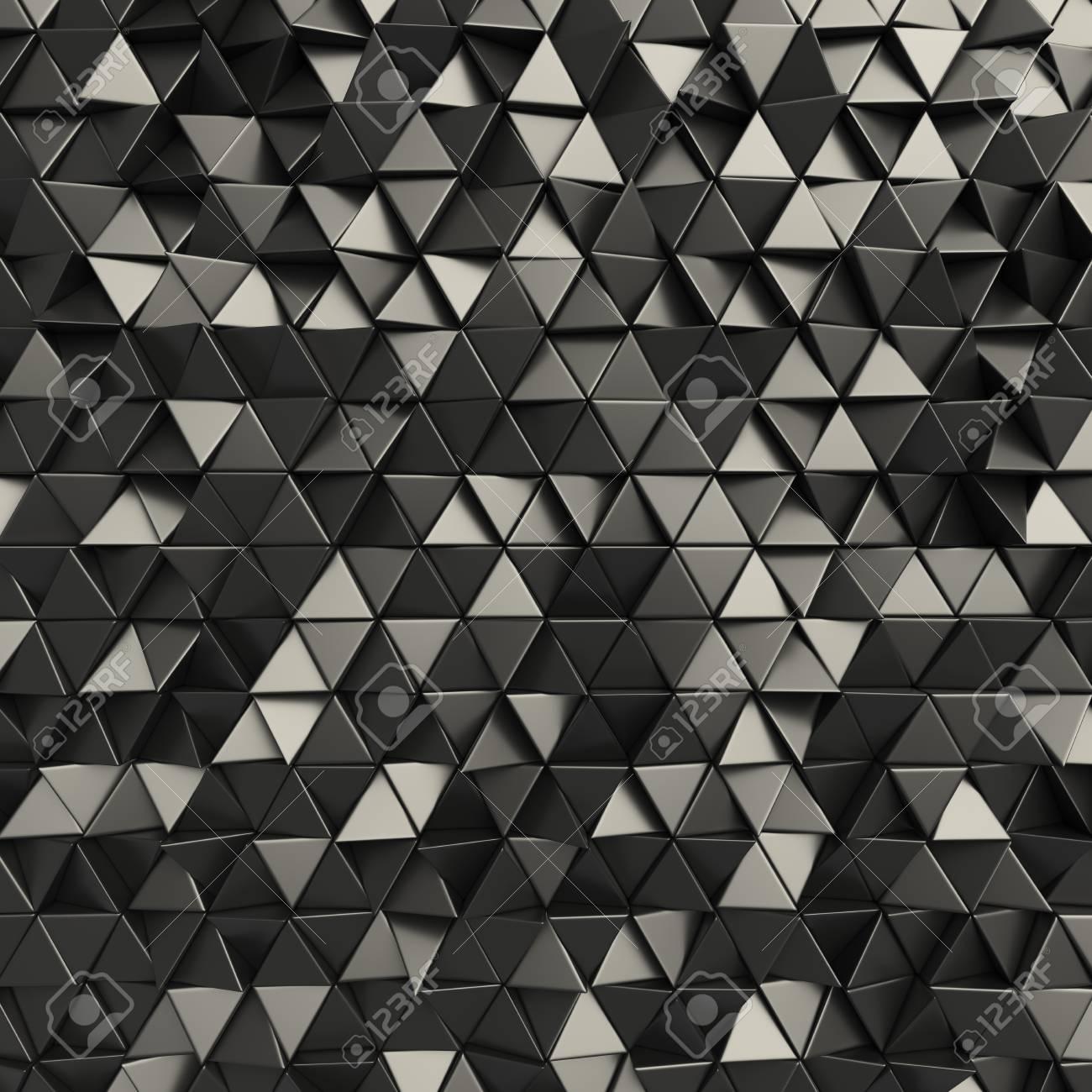 black 3d rendering geometric polygons as tile wall metallic