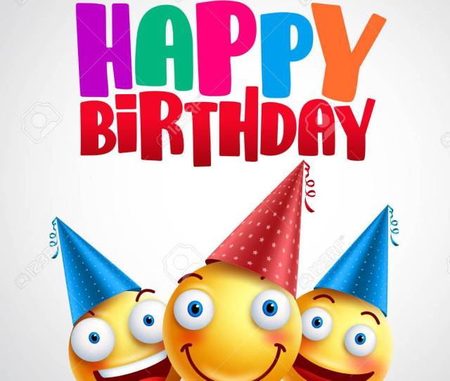 Happy Birthday Smileys Celebrant With Happy Friends Funny Vector Banner Design In White Background With
