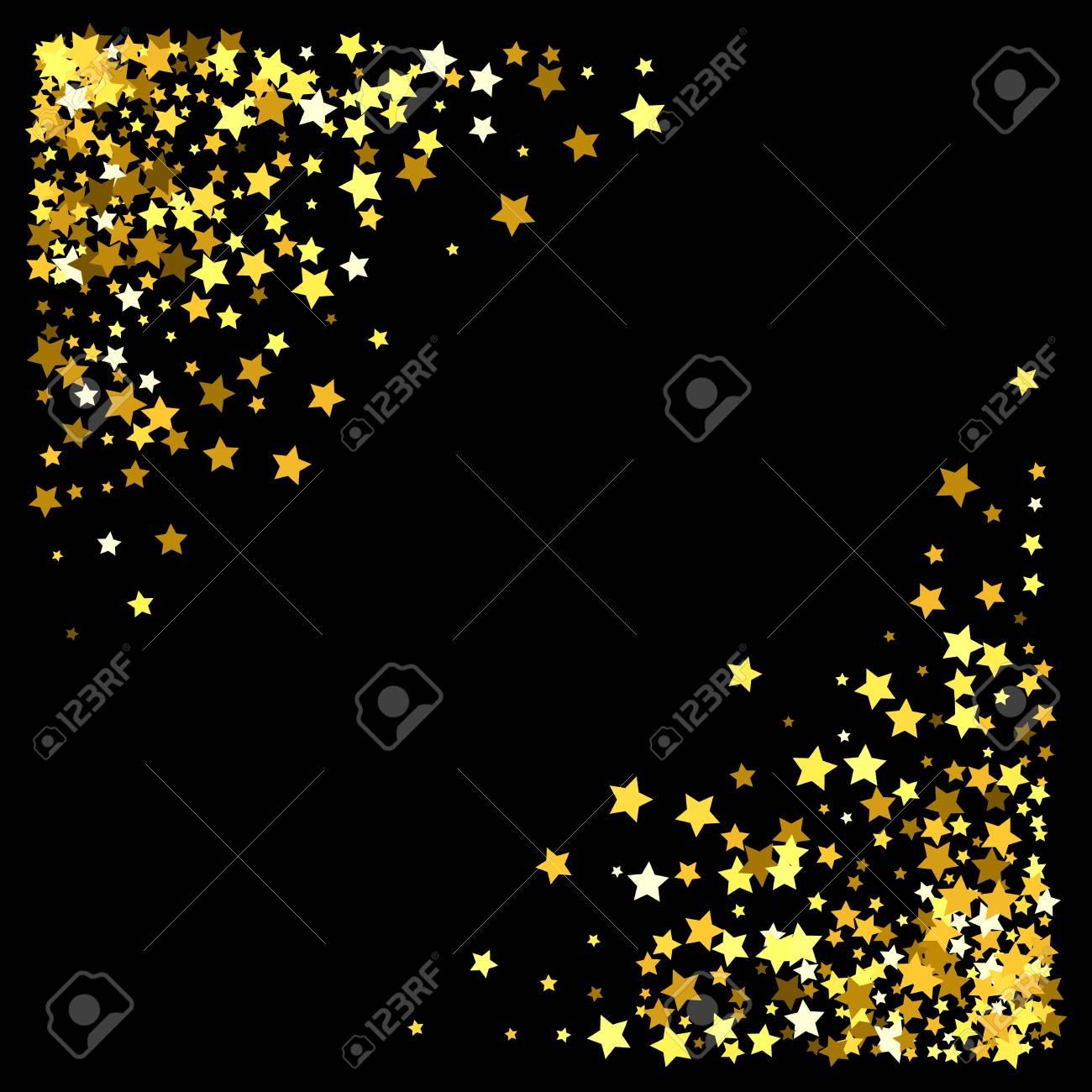 triangle corner gold frame or border of random scatter stars