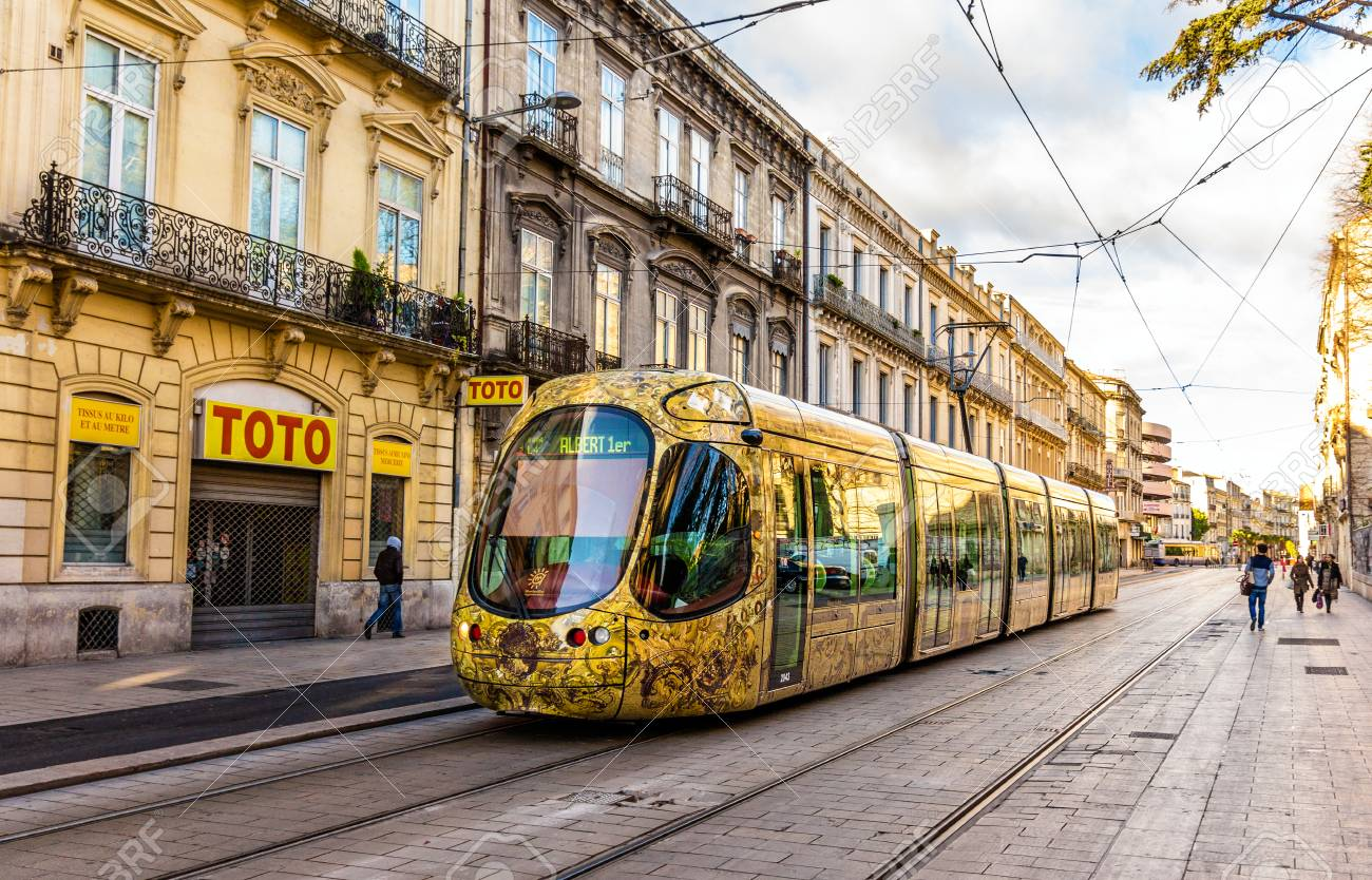 montpellier france january 05 alstom citadis 302 tram on stock photo picture and royalty free image image 37854397
